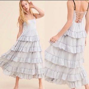 NWT. UO Baby Blue Tiered Annabelle Maxi Dress. S
